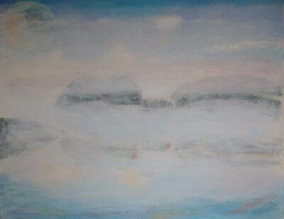 Aamu Ihamäen järvellä, 2020, öljy kankaalle, 70 x 89 cm