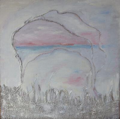 Ajatuksissa, 2020, öljy ja tekstiili kankaalle, 40 x 40 cm