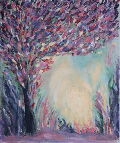 Hehkuu, 2021, öljy kankaalle, 55 x 46 cm