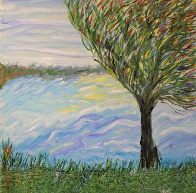 Kesätuuli, 2021, sekatekniikka puulle, 61 x 61 cm