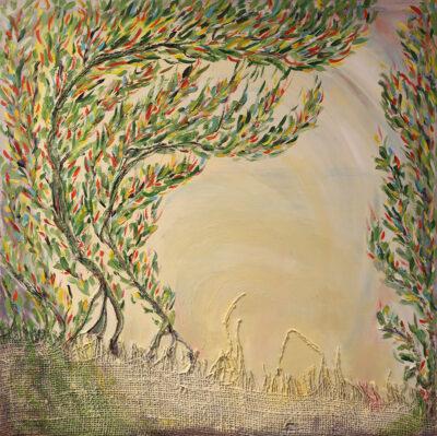 Kultaköynnöksen alla, 2021, sekatekniikka puulle, 61 x 61 cm