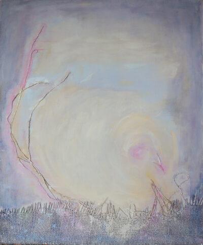 Pikkuinen, 2020, Öljy ja tekstiili kankaalle, 56 x 46 cm