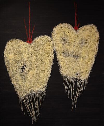 Rakkaus kestää, 2020, sekatekniikka puulle, 91 x 75 cm