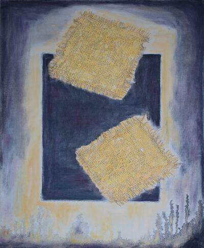 Vahvuutta ja valoa, 2020-21, öljy ja tekstiili kankaalle,60 x 50 cm